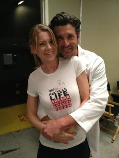 Patrick Dempsey and his onscreen love Ellen Pompeo advocated for organ donation on the set of Grey's Anatomy. Source: Twitter user PatrickDempsey