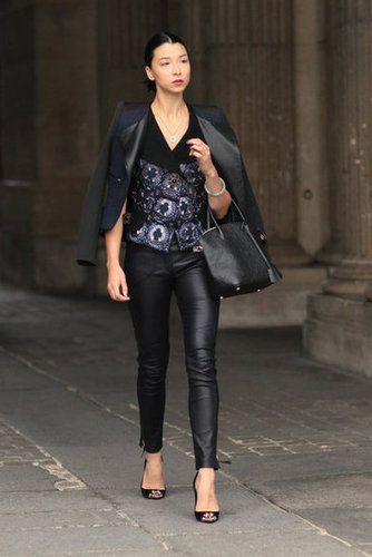 Leather pants got a jeweled juxtaposition from this styler's bold vest and cap-toe pumps.