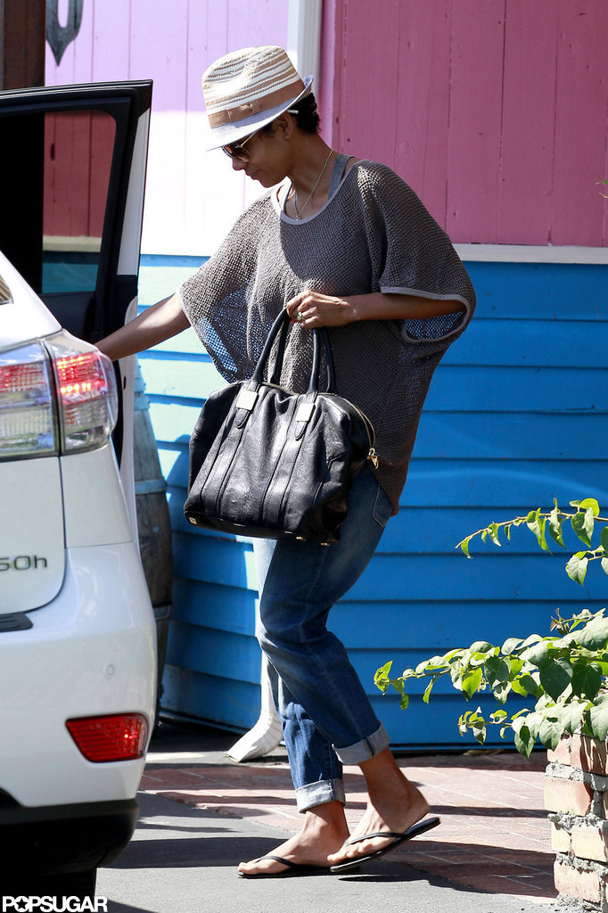 Halle Berry headed out of Pink Taco after grabbing lunch.