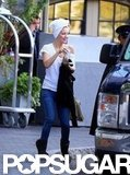 Kate Hudson wore a towel over her hair on the way to set in Boston.
