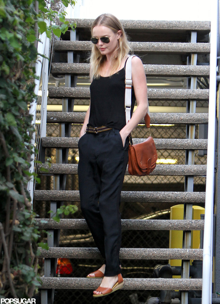Kate Bosworth wore a black tank and navy blue pants in LA.