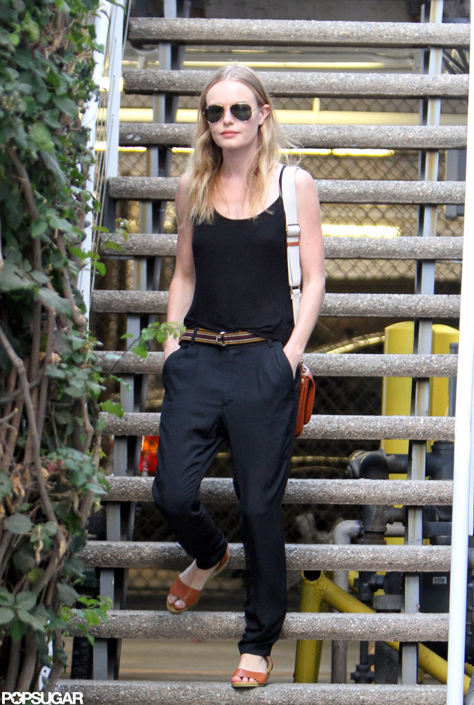Kate Bosworth walked down the stairs in LA.
