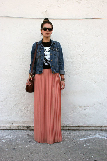 Congrats, Style Extraordinaire! A maxi and denim jacket make such a cool pairing.