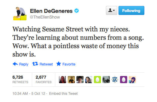 Ellen DeGeneres tries on a bit of sarcasm for size.