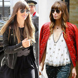Jessica Biel Doubles Up on Leather Jackets For Two Parisian-Chic Looks