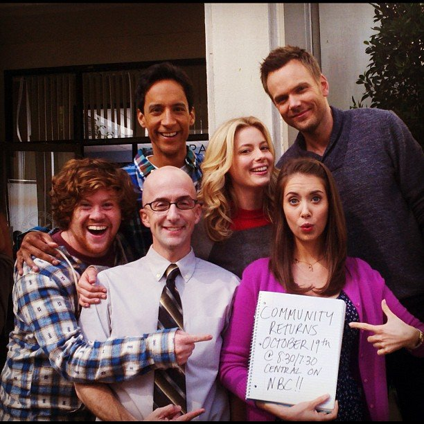 The cast of Community wants you to watch their show, though its premiere date has recently been altered to TBA. Source: Instagram user gillianjacbos