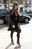 Jessica Biel shopped around Paris in a black leather jacket.