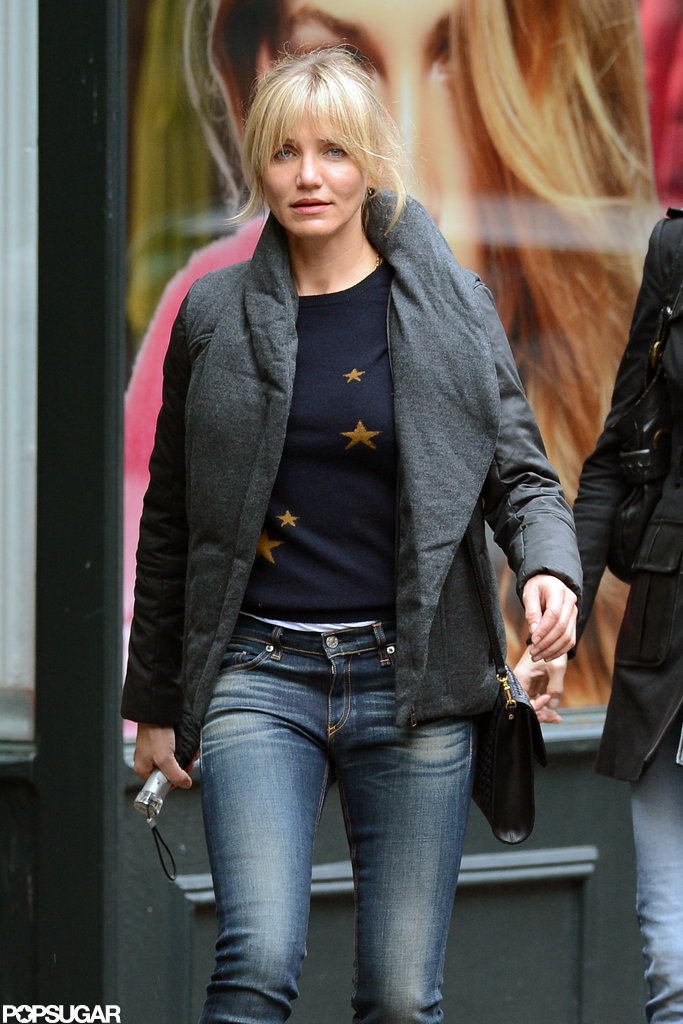Cameron Diaz wore a sweater and puffy coat for a day of shopping in NYC.