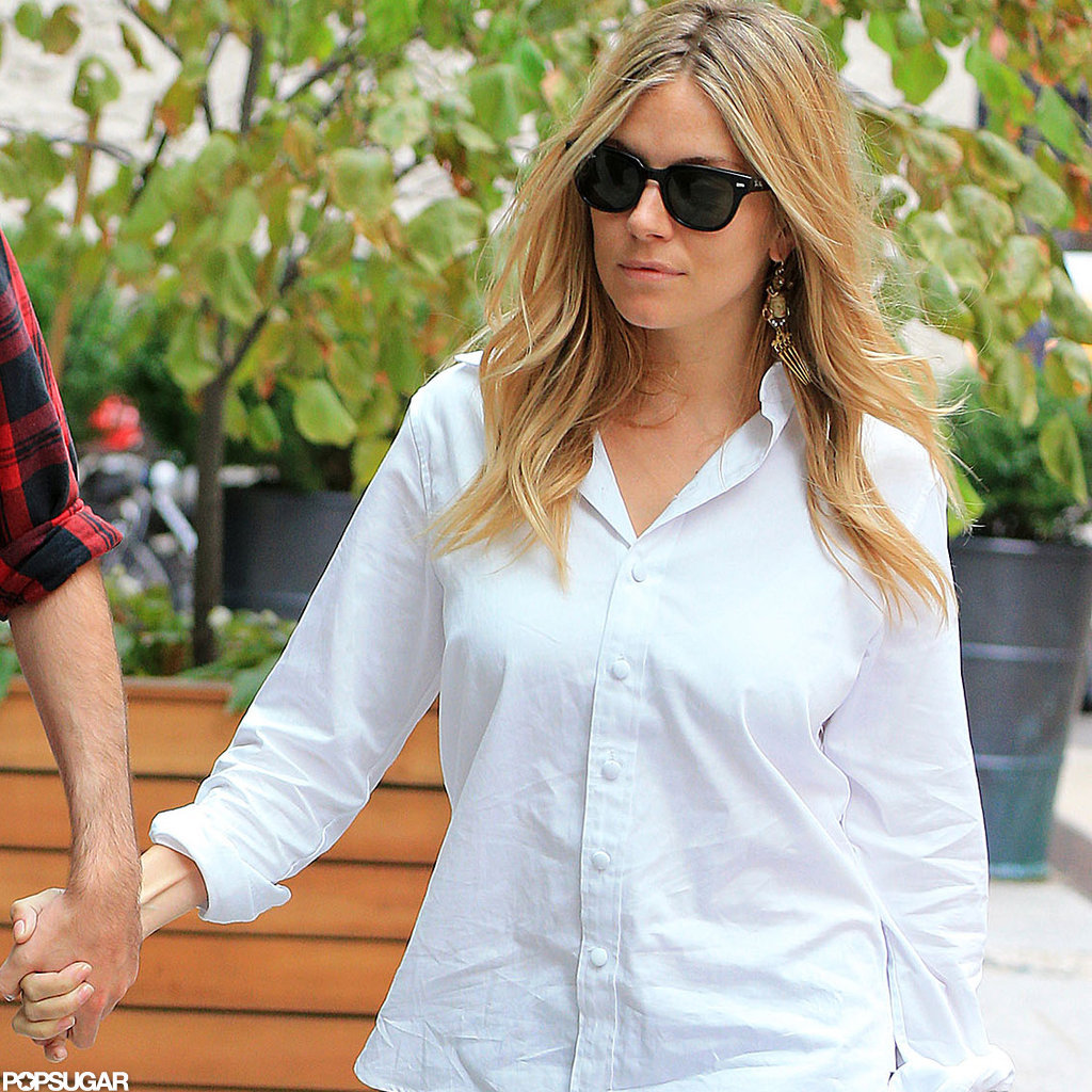 Sienna Miller wore a white button down shirt for a day out in NYC.