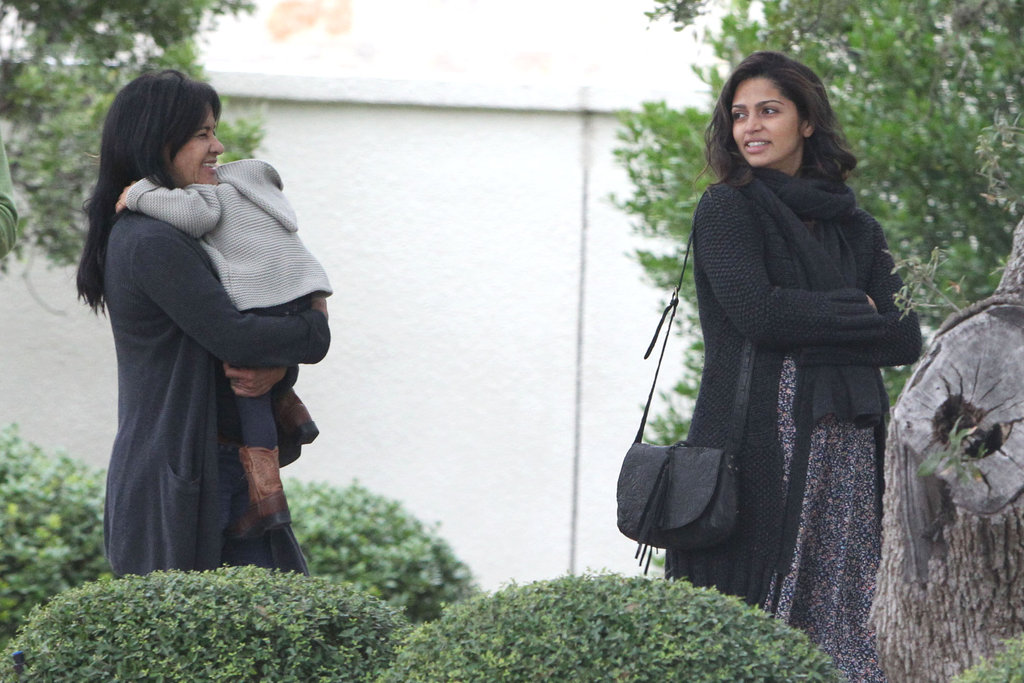Camila Alves left church with her mother.