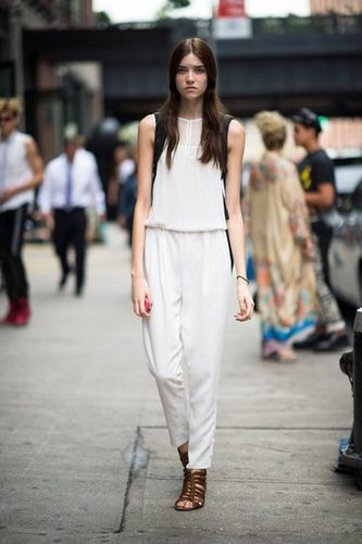 Ground all-white with brown leather. We love the way it looks on woven sandals, but a pair of ankle boots would be just as cool. Source: Adam Katz Sinding