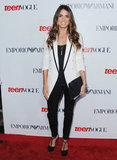 Nikki Reed worked a pair of t-bar heels into her chic, tuxedo-inspired event style.