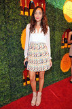 Ashley Madekwe never fails to master the art of high-low dressing, and this polo ensemble fit the bill. She wore a white Zara top and printed Etro skirt, then accessorized with an Anya Hindmarch bag and Hervé Léger heels.
