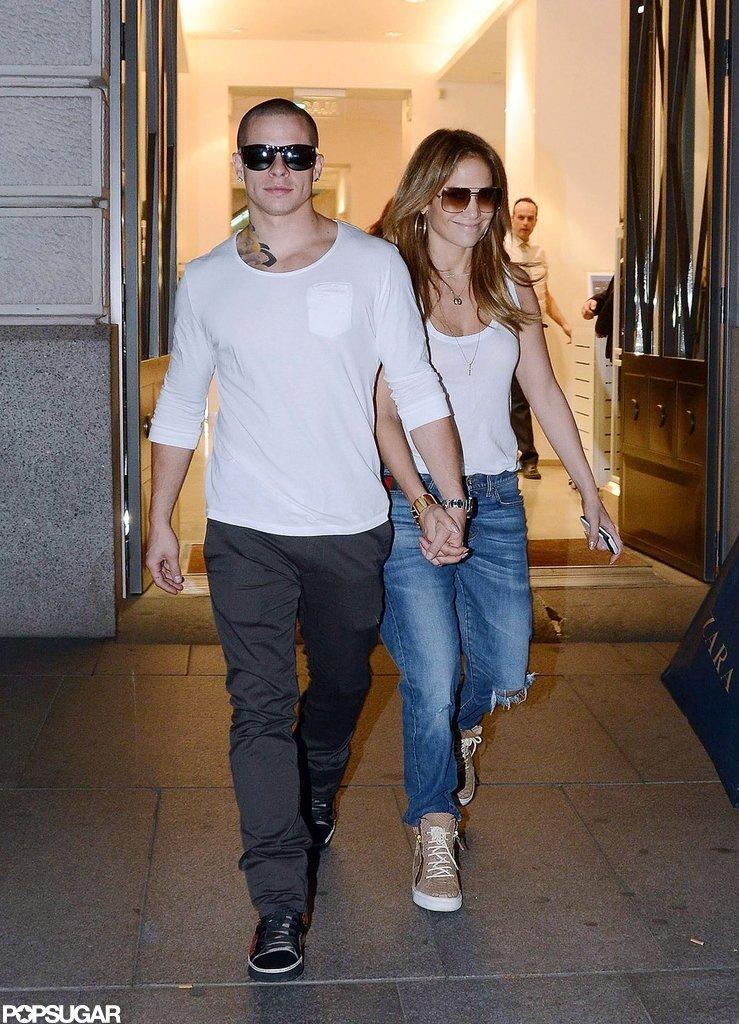 J Lo and Casper Smart held hands in Spain.