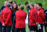 Kate Middleton chatted with soccer players.