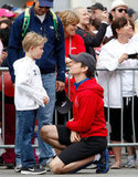 Matt Bomer chatted with Simon Halls and their son Kit during the May 2012 Revlon Run/Walk for Women held in LA.