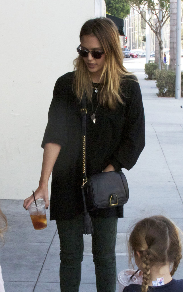 Jessica Alba wore a crossbody bag in LA.
