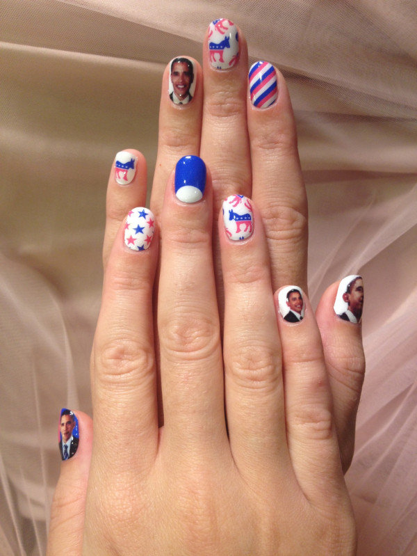 Try some election-themed nail art like Katy Perry's! Source: TwitPic user katyperry