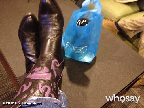 Eric Stonestreet sported some bold boots in his room at The Ellen DeGeneres Show. Source: Eric Stonestreet on WhoSay