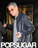 George Clooney wore sunglasses leaving his NYC hotel.
