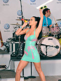 Katy Perry rocked out in a skintight dress in NYC's Times Square in June 2010.