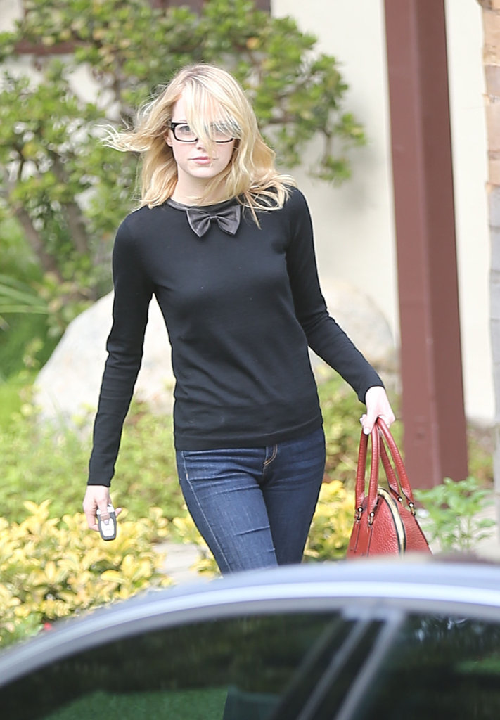 Emma Stone Looks Sweet in Specs For a Friendly LA Visit