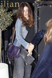 Penélope Cruz wore a denim jacket for dinner with Javier Bardem and their families in Madrid.