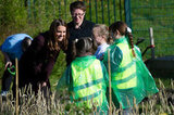 Kate Middleton chatted with children in a community garden in Newcastle upon Tyne.