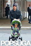 Matt Damon took his youngest daughter, Stella Damon, for a walk in NYC.