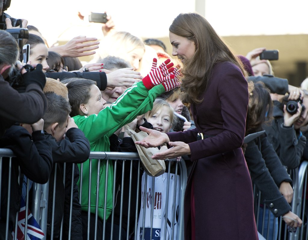 Kate Middleton greeted a young fan at the Newcastle Civic Centre.