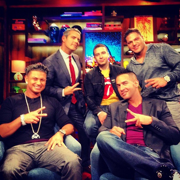 Andy Cohen made fast friends with the gentlemen of Jersey Shore when they guested on Watch What Happens: Live. Source: Instagram user bravoandy