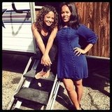 Christina Milian and her agent struck a pose by her trailer. Source: Instagram user christinamilian