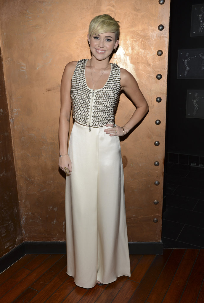 Miley Cyrus posed for photos at the gala in LA.