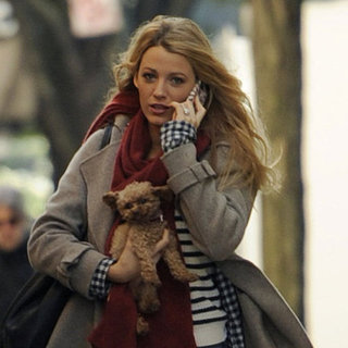 Blake Lively With Her Dog on the Gossip Girl Set