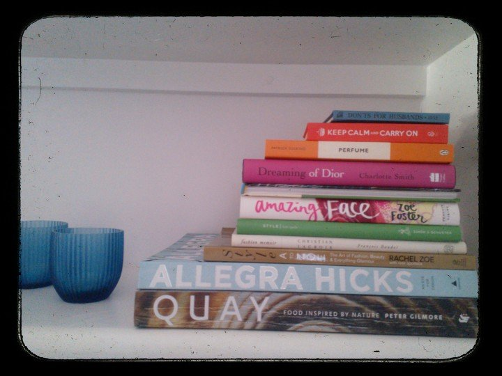 Coffee table books on the bookshelf. Tricky, I know.