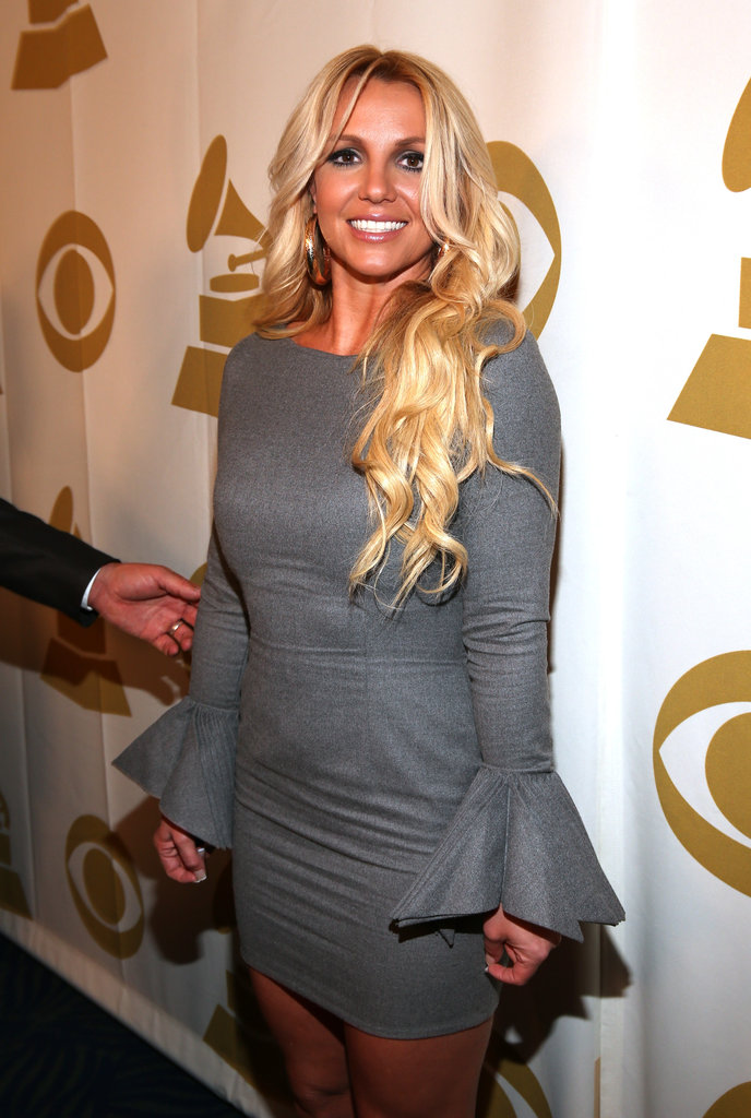 Britney Spears wore a gray dress with statement sleeves at the event in LA.
