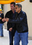 George Clooney donned a black leather jacket for lunch with Rande Gerber.