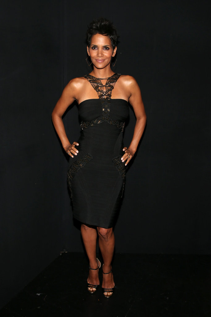 Halle Berry posed for photos at the Grammy tribute to Whitney Houston in LA.