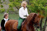 Nicole Kidman rode a horse on set.