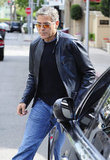 George Clooney walked to his car after a lunch outing with Rande Gerber.
