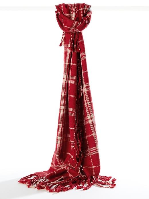 We love the statement red on this otherwise traditional plaid scarf from Banana Republic ($48).