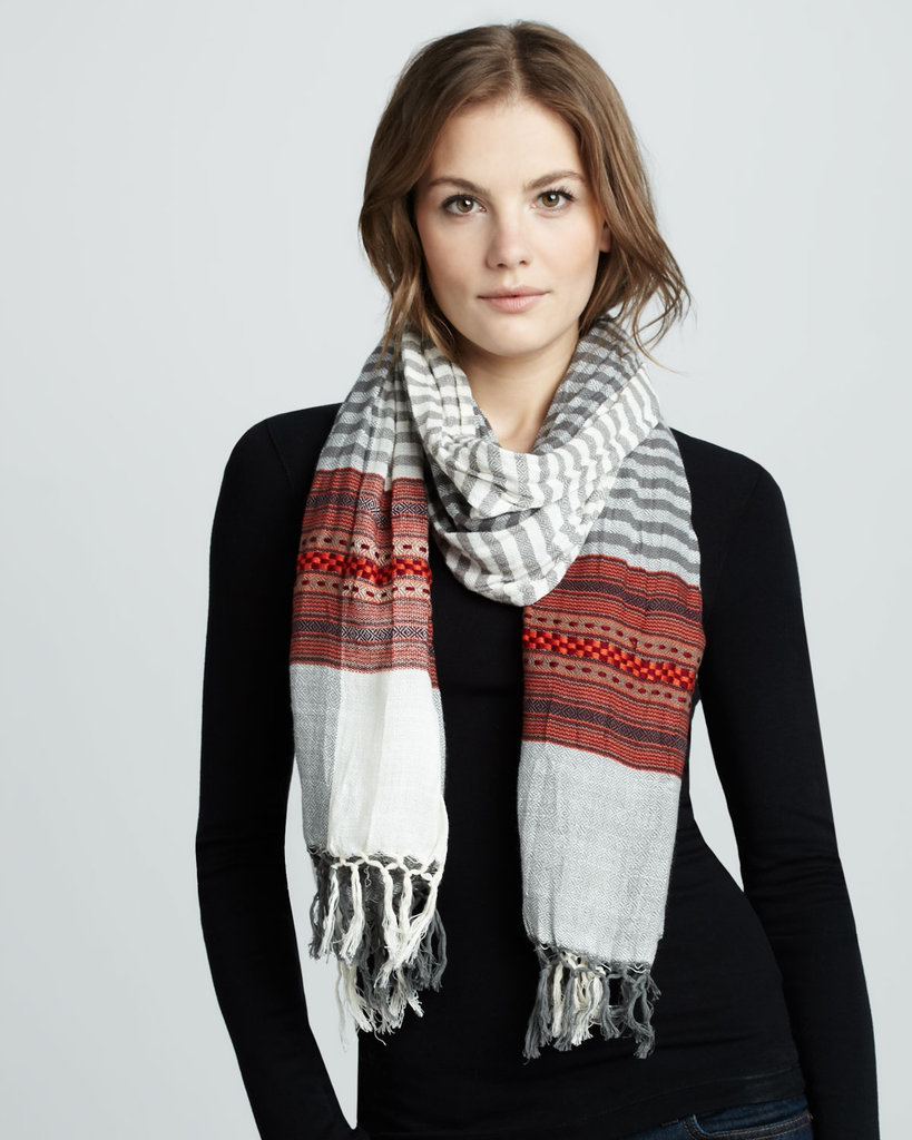Bring a more exotic feel to your top layers via stripes and a tapestry-infused print. Yes, we're talking about this Michael Stars desert tapestry scarf ($48) specifically.