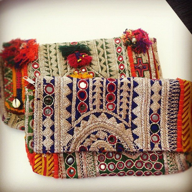 We couldn't take our eyes off of these hand-embellished bags from Latitude.