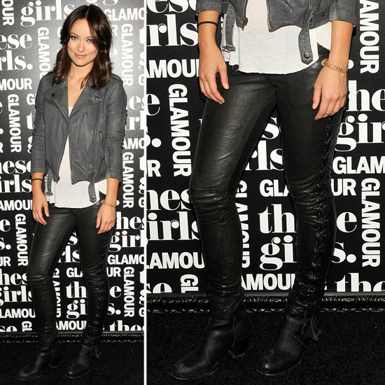 Work leather two ways and shop Olivia Wilde's latest.