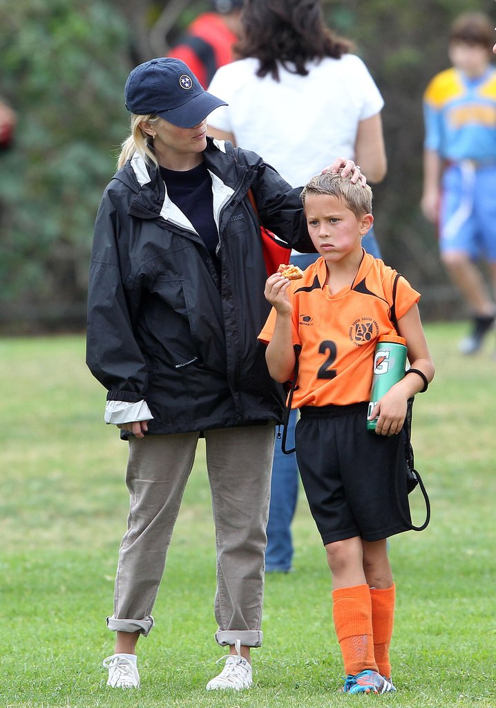 Reese Witherspoon spent time with her son Deacon Phillippe at his soccer game in LA.