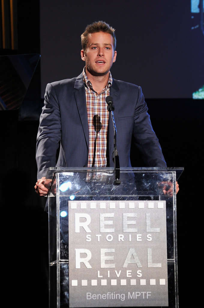 Armie Hammer spoke on stage.