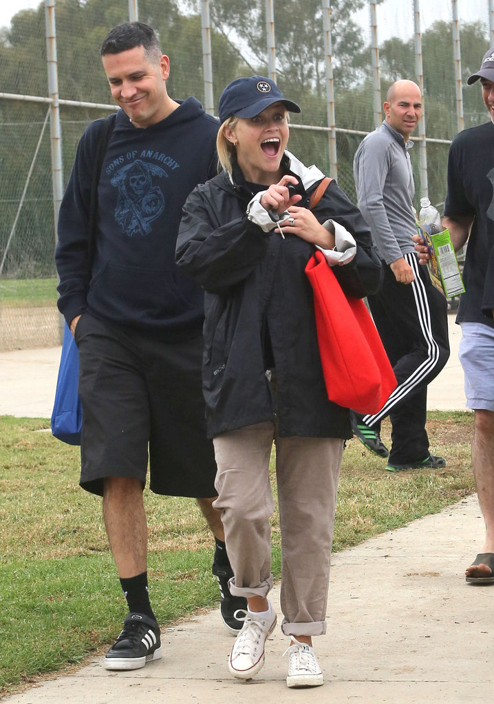 Reese Witherspoon looked excited to arrive at son Deacon Phillippe's soccer game with Jim Toth.
