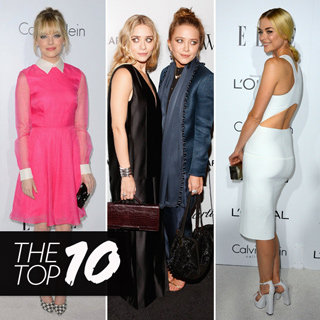 Top Ten Best Dressed Celebrity Looks This Week: Mary-Kate & Ashley, Jaime King White Dress, Emma Stone Pink Dress ,