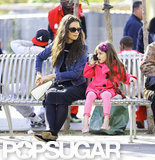 Suri Cruise talked on the phone while out with Katie Holmes in NYC.