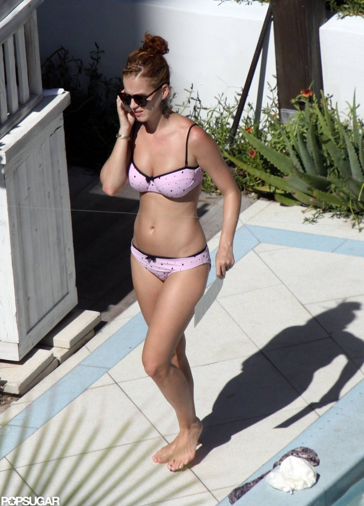 Katy Perry rocked a pink, polka-dot bikini in Miami in June 2011.